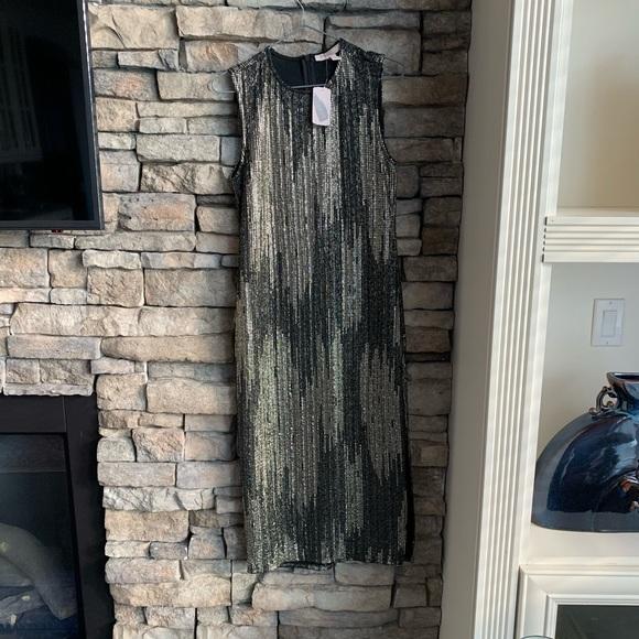 Metallic straight cut dress